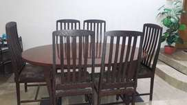 Wooden Dining table with 6 wooden chair