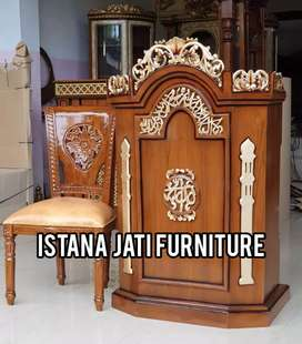 Tersedia Mimbar masjid podium kayu jati