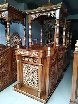 Mimbar masjid kubah kayu jati awet