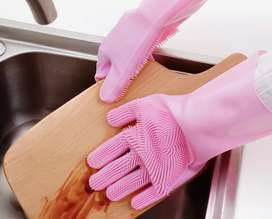 Dish Washing Silicone Gloves (Sale now)