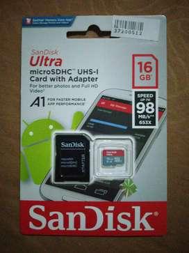 Micro SD Sandisk 16 GB Class 10 A1