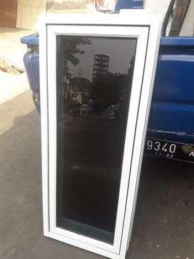 Kusen jendela aluminium alexindo kaca rayban komplit unit 120cm x 50cm