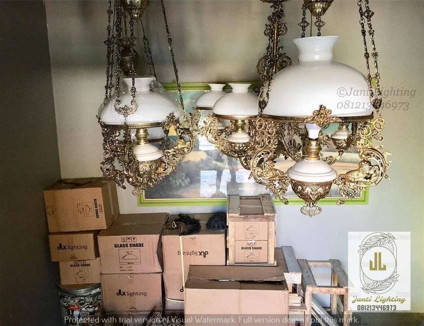Lampu gantung katrol kerek betawi lampu antik repro 0