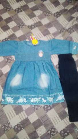 Baby frock denim with tights size 1 y to 4 y