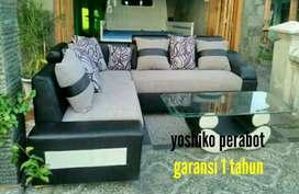 Yoshiko perabot - sofa L hanera cream hitam
