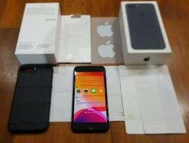 iphone 7+ 32gb blackmate, original, (hanya earphone hilang), no rekond