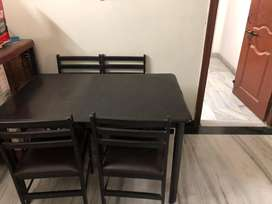 4+1 piece black Dining table