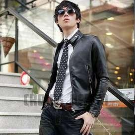 Jaket Black Biker Leather Belter Korean Style