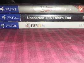 PS4 games:- UNCHARTED 4, WWE 2K15,FIFA17