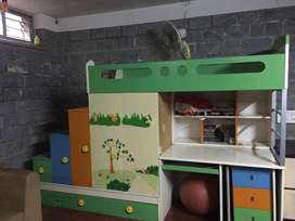 Bunk beds (2) with study table, shelfs, wardroble : all in one unit