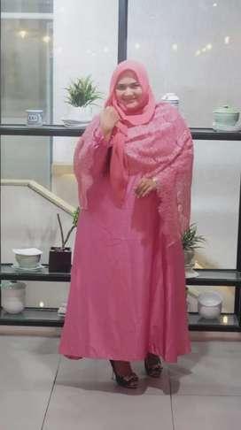 gamis brokat super jumbo baju kondangan gaun pesta muslimah bigsize