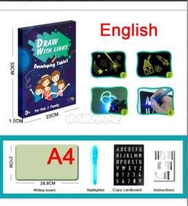 Mainan edukasi kreativ papan menggambar ajaib magic size A4 glow in th