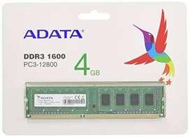 COMPUTER RAM DDR3   4 GB FOR   DESKTOP 1600 NON USED FIX PRICE