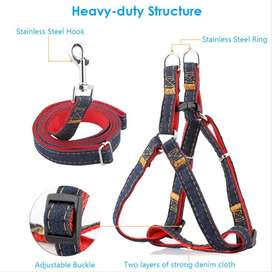 04 Sizes PET Denim Leash & Harness Set Dog Adjustable - PS503