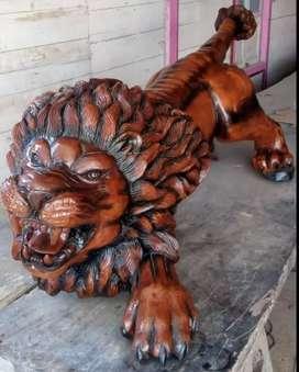 Ukiran Kayu Jati Asli 100%. Bentuk Singa