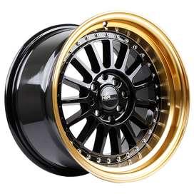 JUAL VELG HSR Ring-15x8-9-H8x100-1143-ET30-25-Black-Gold-Lip