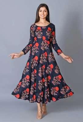 Rayon fabrics mugal butta ethnic dress