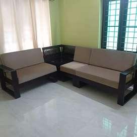 2 items - Teak Cot 17k & Lshape Sofa Set 22k