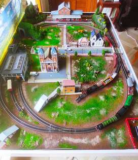 Hornby railroad layout, toy train