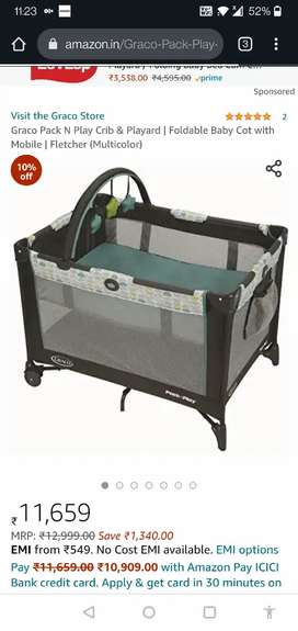 Graco pack and play cot cum crib