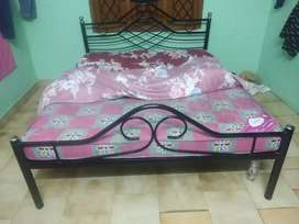 Steel iron double bed with mattress  newly condition