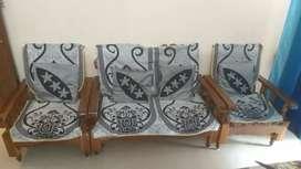 2+1+1 Teak Wood Sofa set with Cushion & Cover