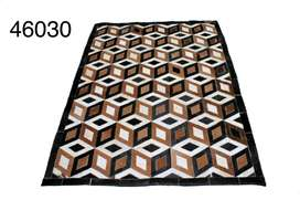 Beautiful leather patchwork rug for home decoration