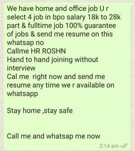 Partime job in bpo kpo u want join us