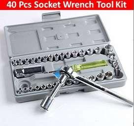 Kunci Set 40 in 1 - besi chrome dan Gagang ratchet ( Motor mobil )