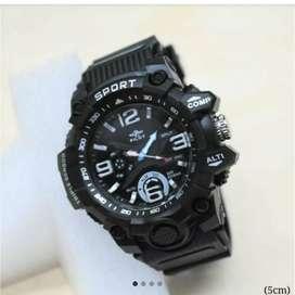 Jam tangan pilot ori karet ruber hitam