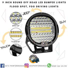 9 Inch Round Off Road LED Bumper Flood Fog Lights Jeep SUV Truck Light