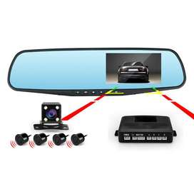 car dvr camera with front and rear camera and led