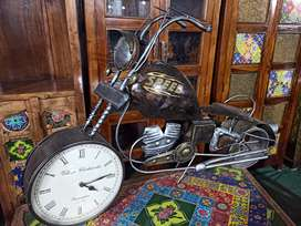 Metalic Bike with Clock Handcrafted Antique Home Decor- motorcycle