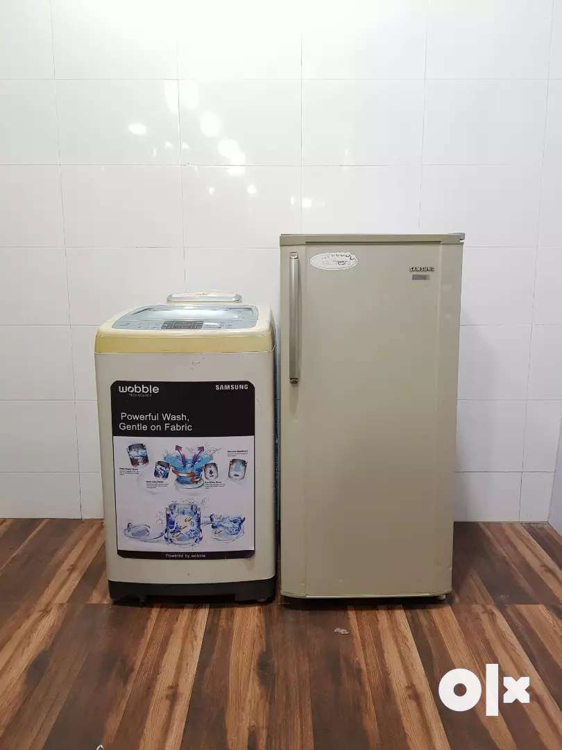 Samsung silver fresh refrigerator and washing machine 0