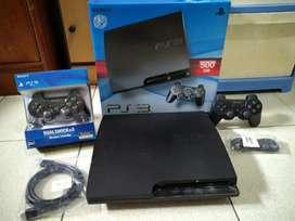 PS3 Slim 500GB siap main isi 100 game+2 Stik