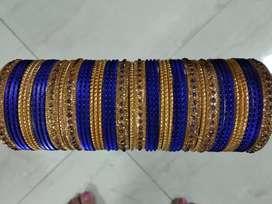 Bangles blue n golden colour