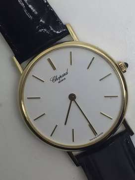 Chopard men 34mm All gold 18K with leather