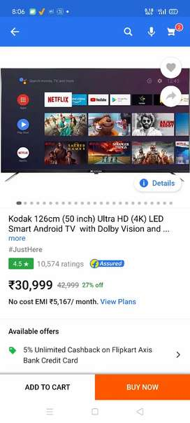 Kodak 50 inch 32 inch Android Led Tv