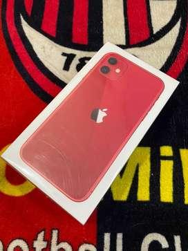 Iphone 11 RED 128GB new segel greenpeel ada nota 14 juta