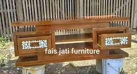 Bufet tv kacamata kayu jati ready stock