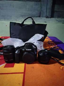 Canon 200d mark ii with two lens tripod and greenscreen