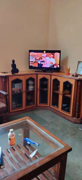 T V unit corner stand with cabinets