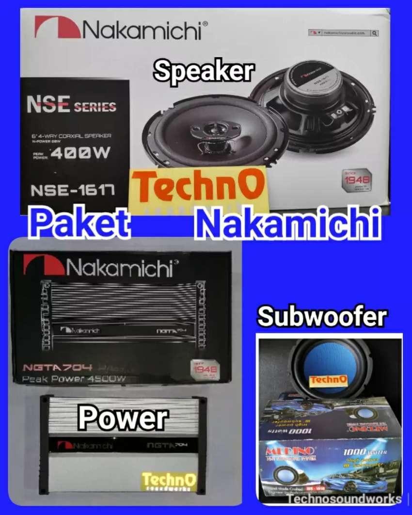 Paket sound Nakamichi speaker power audio for tv mobil doubledin velg 0