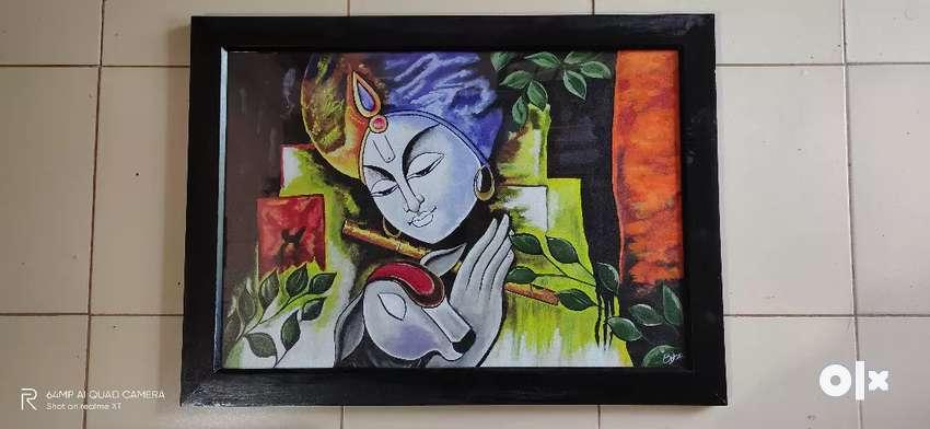 Krishna fabric painting on canvas 0