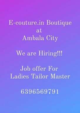 We Require Ladies Tailor at Ambala City,  Haryana