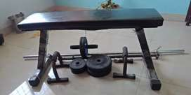 Gym weight, Rods ,Abbroller and Bench