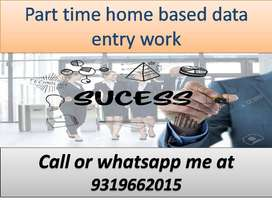 Home based job part time work data entry job