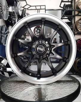 Velg HSR Hiroshima ring 15 lebar 7/8 pcd 8X100-114,3 black polish