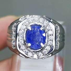 Cincin Batu Akik Blue Safir Srilangka Ceylon Asli