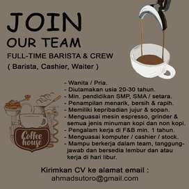 Dicari Barista, Cashier, Waiter Coffee shop & resto